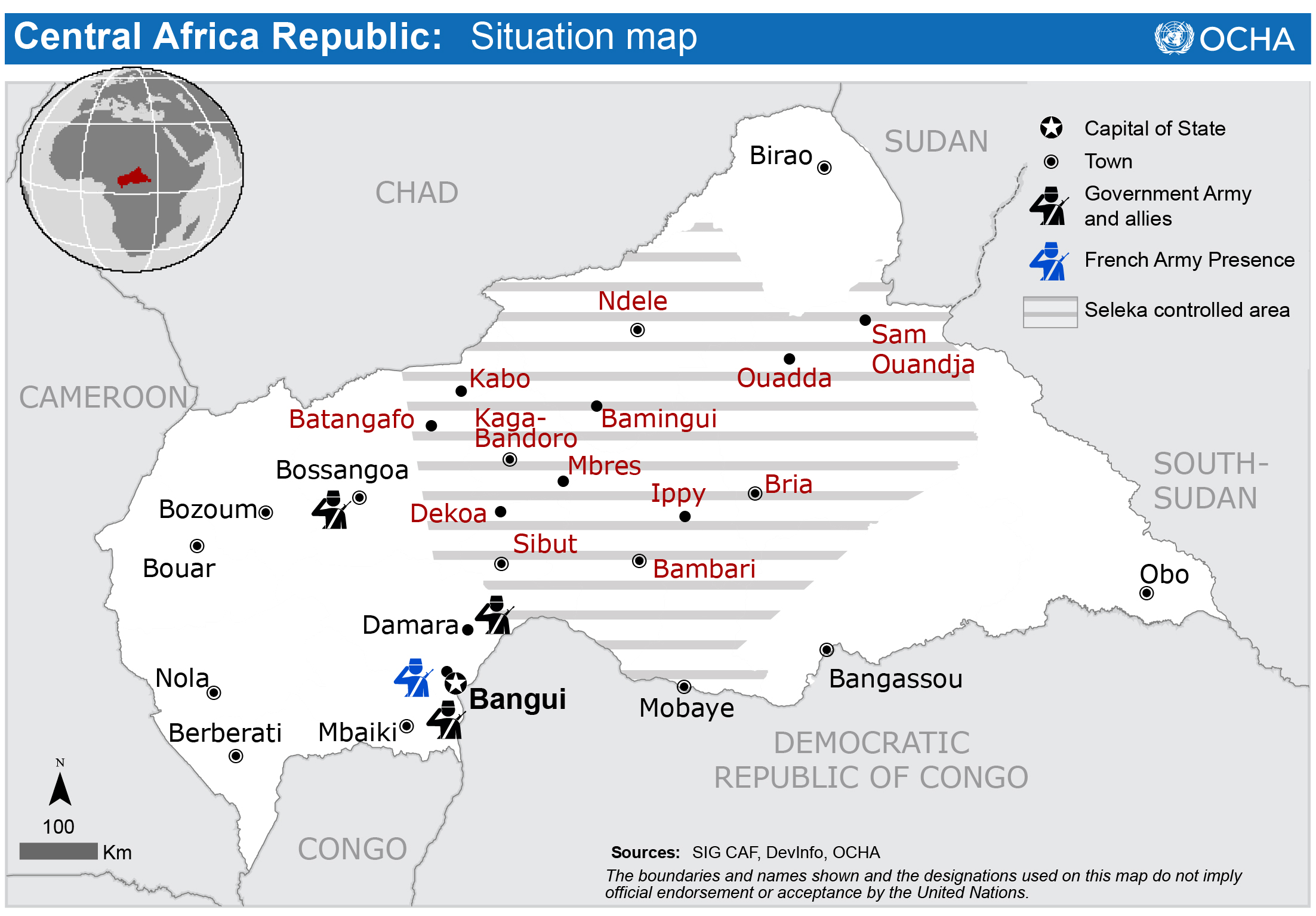 Central Africa Republic Situation Map HumanitarianResponse - Central africa map