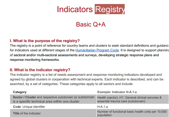 Indicators Registry : Q & A
