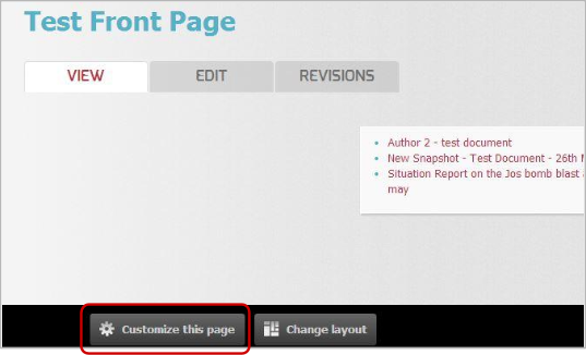 Customize the page