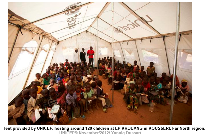 Tent provided by UNICEF, hosting around 120 children at EP KROUANG in KOUSSERI, Far North region.