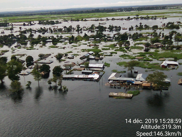 Aerial photo of floods in the Republic of Congo