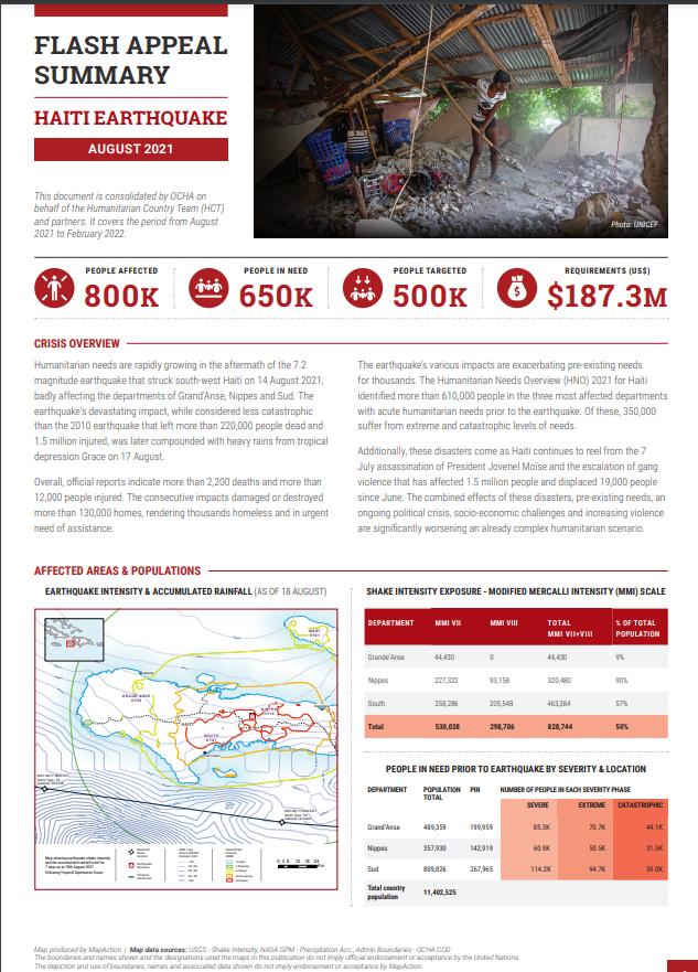 Haiti Earthquake Flash Appeal Summary Cover