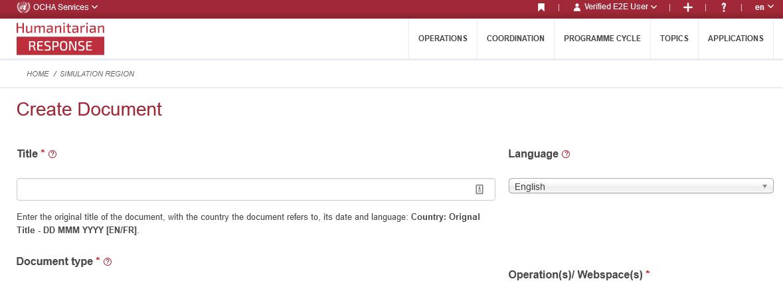 Screenshot of the Create document form