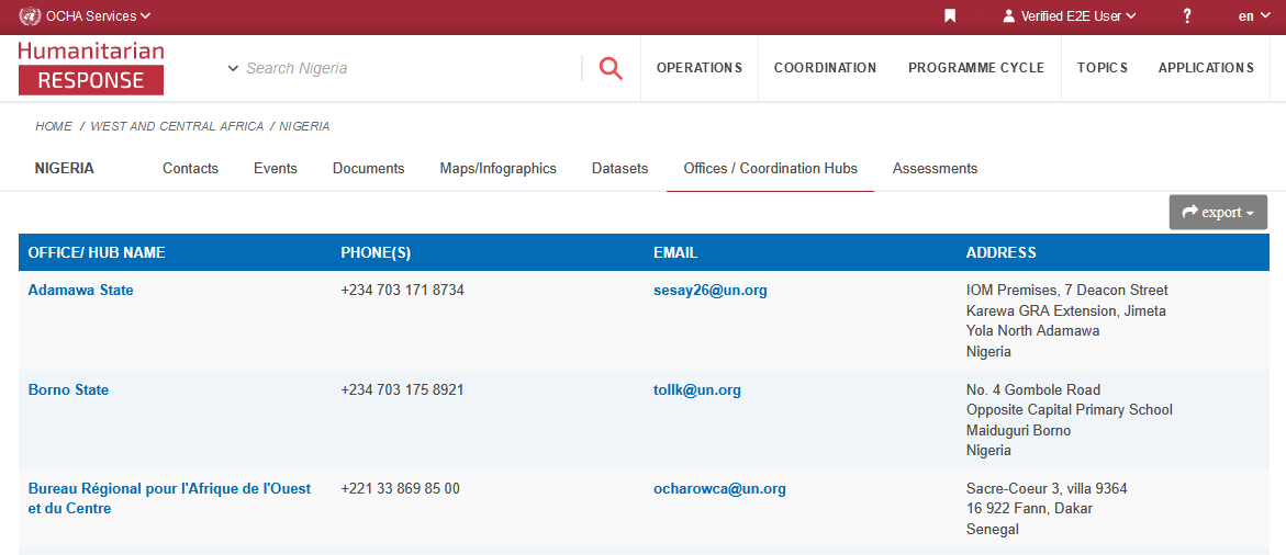 Screenshot of the Offices / Coordination hubs listing page