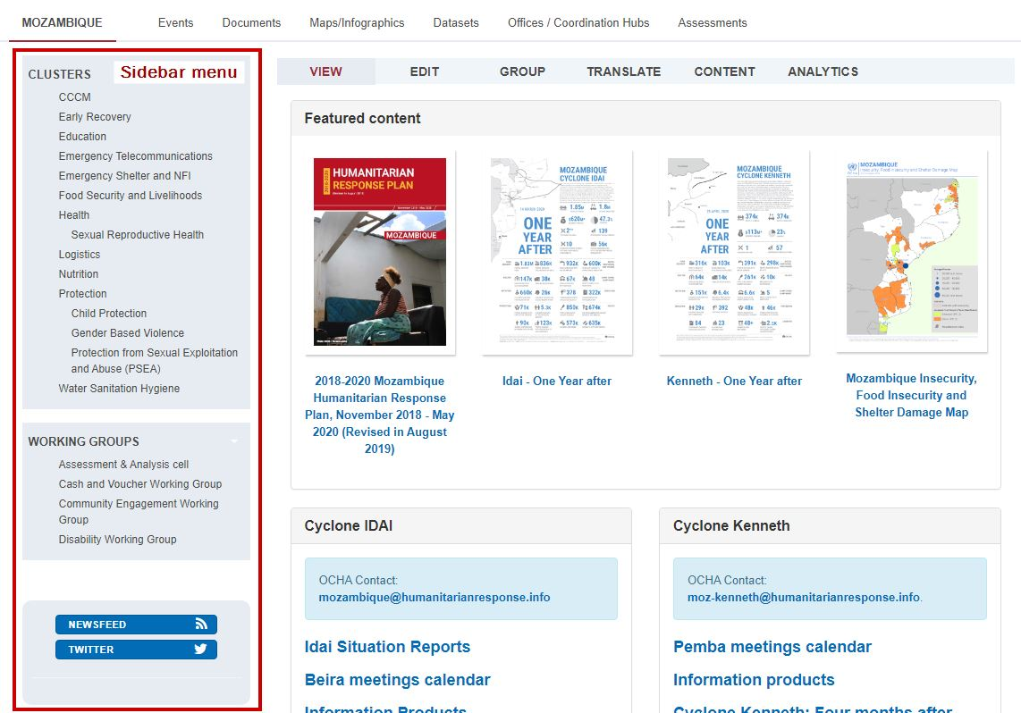 Screenshot of a page with the sidebar menu indicated