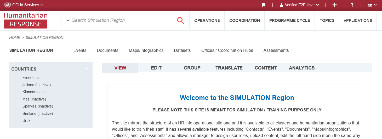 Screenshot of HR.info simulation space
