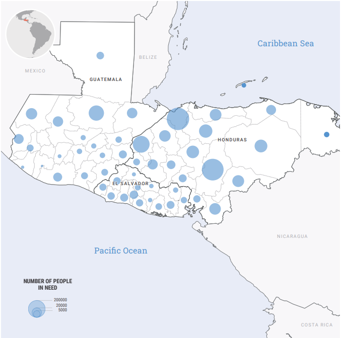 OCHA Map_People in Need in North of Central America