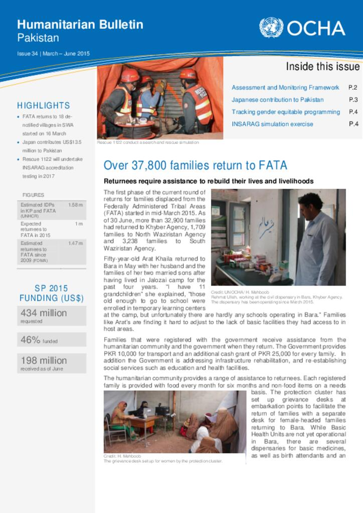 Humanitarian Bulletin Pakistan Issue 34 | March – June 2015