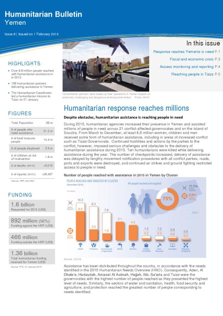 Yemen: Humanitarian Bulletin Issue 8 Issued on 1 February 2015