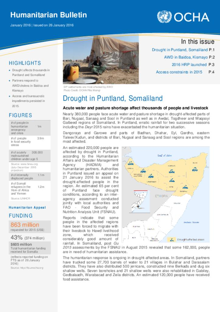 Humanitarian Bulletin Somalia January 2016 | Issued on 26 January 2016