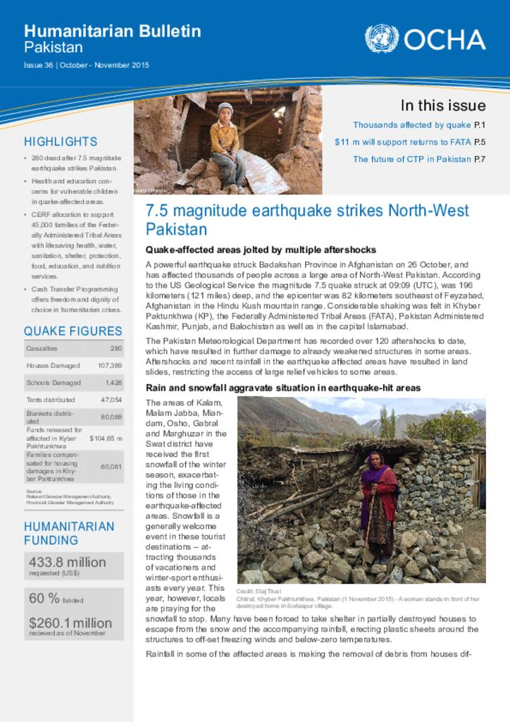 Humanitarian Bulletin Pakistan Issue 36 | October – November 2015