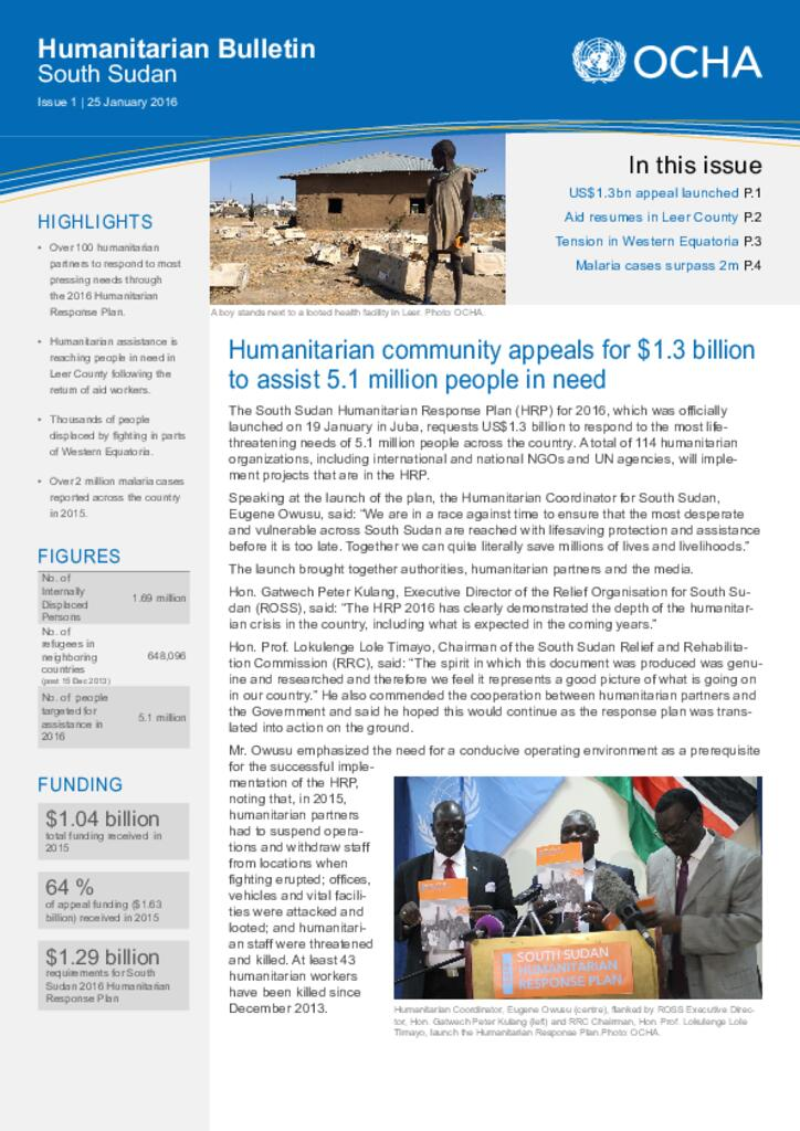 South Sudan: Humanitarian Bulletin (25 Jan 2016)