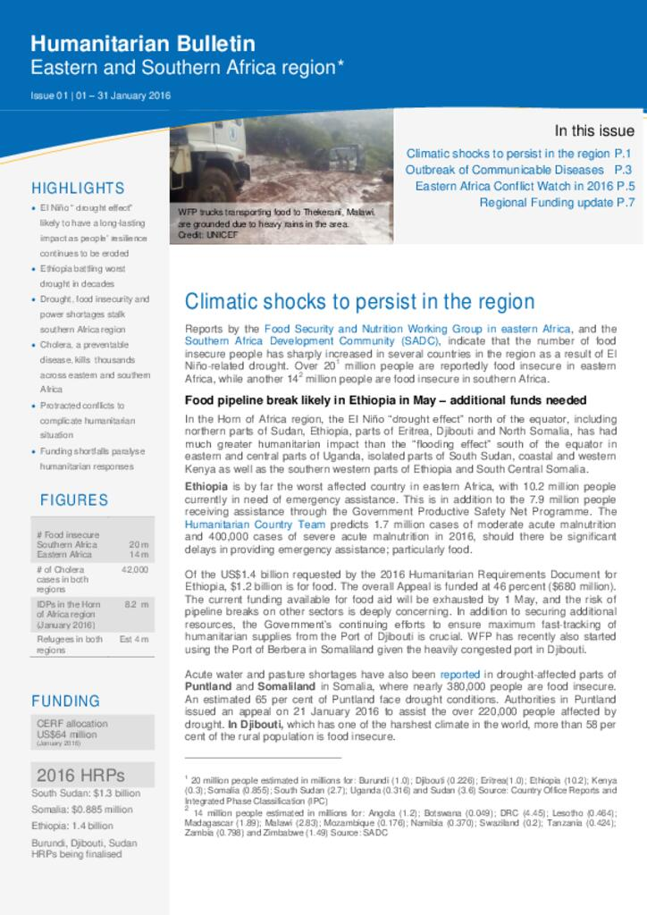 Humanitarian Bulletin Eastern and Southern Africa region, Issue 01, 01 - 31 January 2016