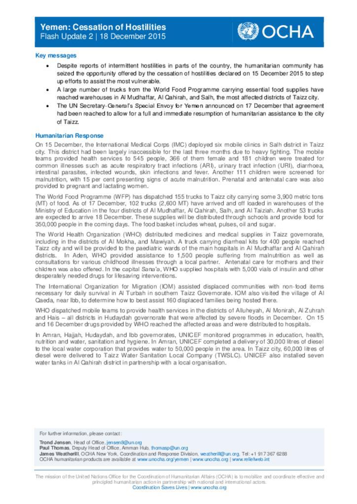Yemen: Cessation of Hostilities Flash Update 2 | 18 December 2015 [EN/AR]