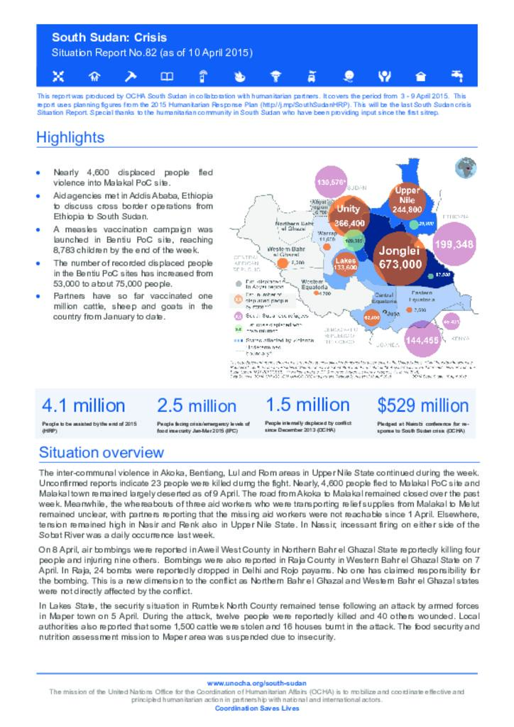 South Sudan: Situation Report No. 82