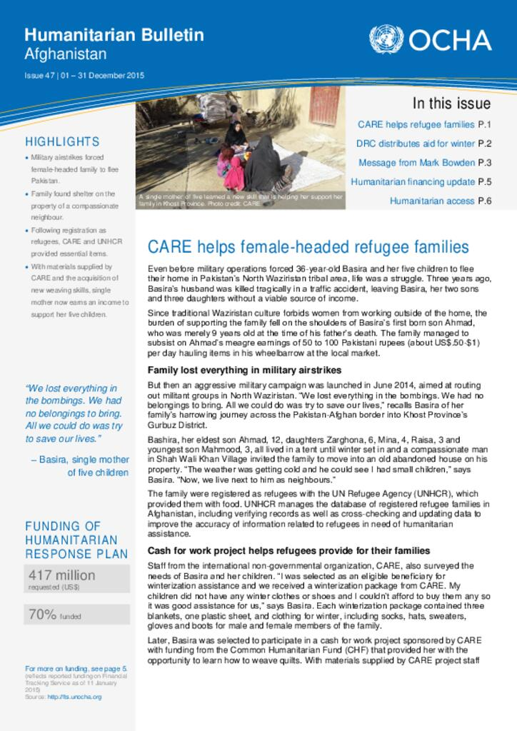 Monthly Humanitarian Bulletin (December 2015)
