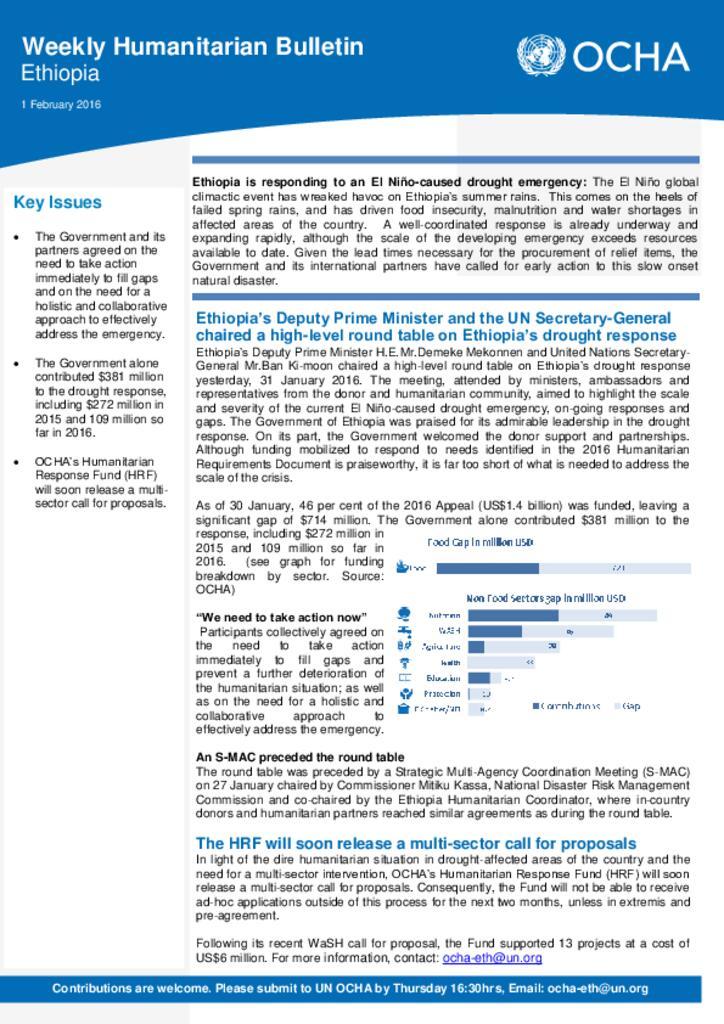 Humanitarian Bulletin 1 February 2016