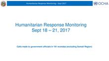 Humanitarian Response Monitoring 18 - 21 September 2017