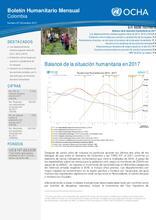 Colombia: Boletín Humanitario Mensual Diciembre 2017 - Balance Anual