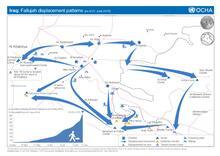 Iraq : Fallujah displacement patterns (as of 21 June 2016)
