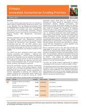 Ethiopia Immediate Humanitarian Funding Priorities