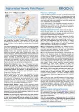 OCHA Afghanistan Weekly Field Report | 11 - 17 September 2017