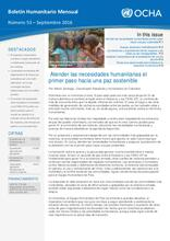 Colombia: Boletín Humanitario Mensual - Septiembre 2016