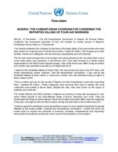 Nigeria: UN CONDEMNS THE REPORTED KILLING OF FOUR AID WORKERS