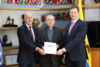 En la foto: Gerard Gómez, Representante de OCHA, Monseñor Héctor Fabio Henao, Director de Pastoral Social y Arnaud Peral, Director del PNUD