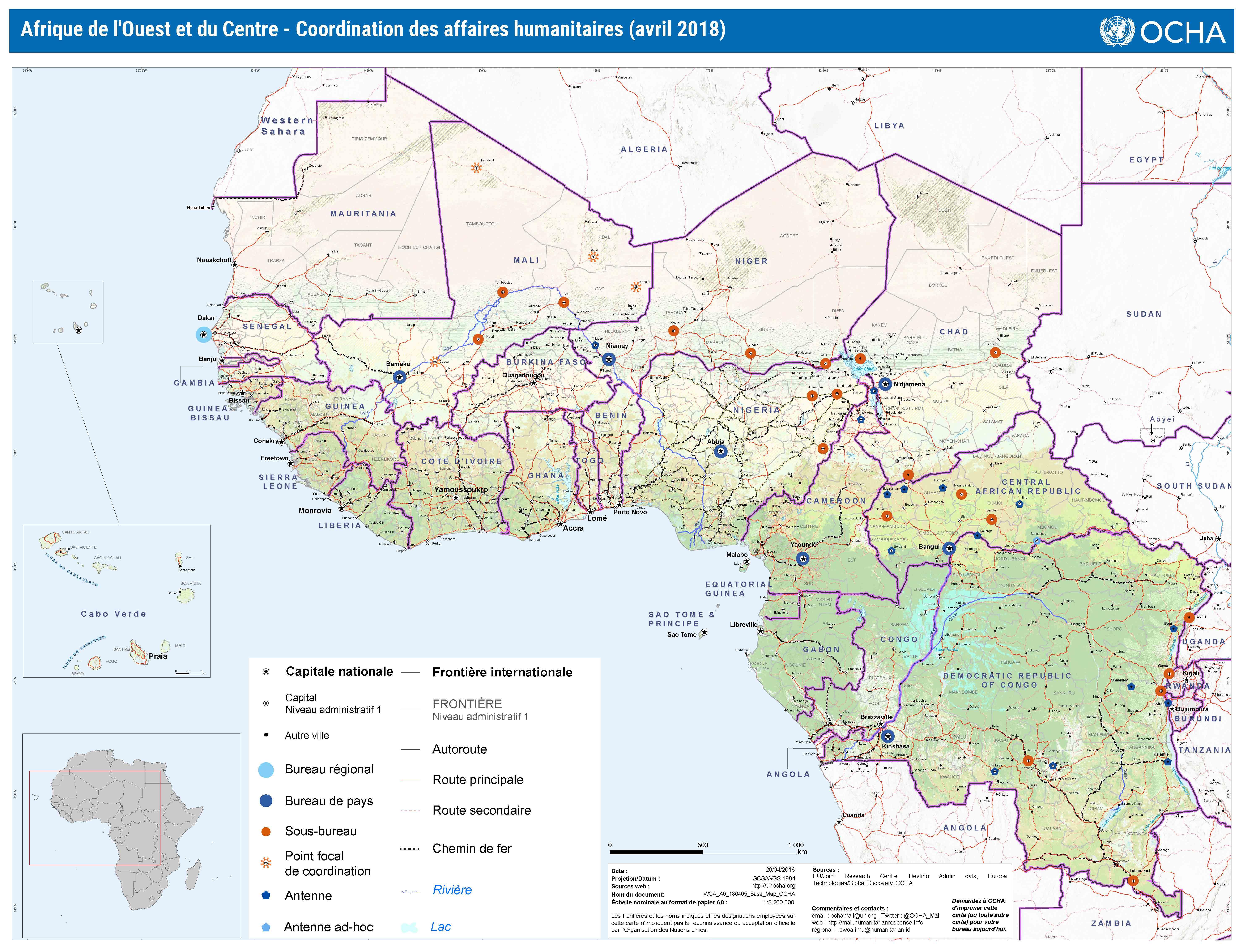 carte de l 39 afrique de l 39 ouest et du centre coordination des affaires humanitaires avril 2018. Black Bedroom Furniture Sets. Home Design Ideas