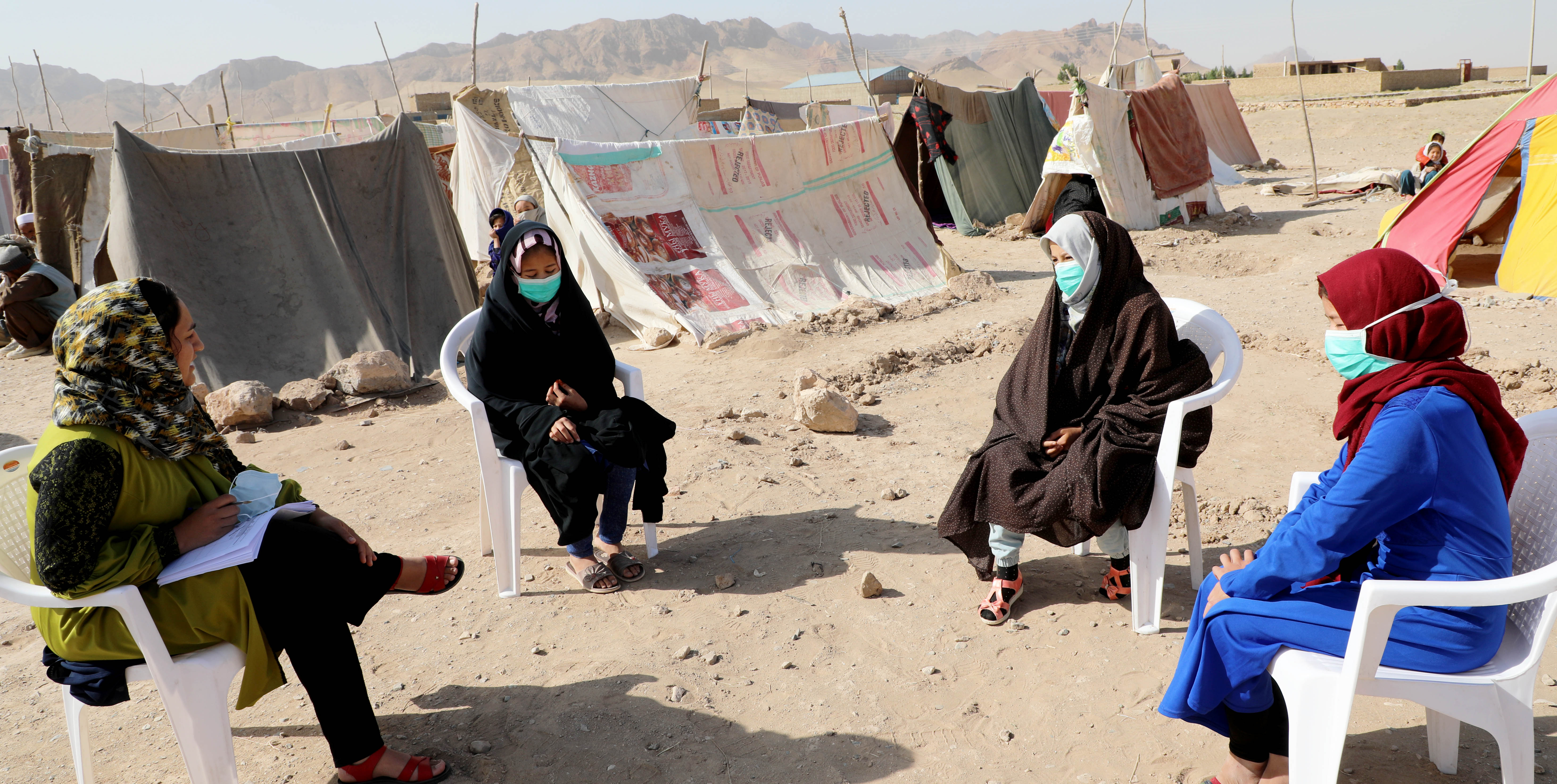 World Vision Afghabnistan consultation with girls in an IDP camp